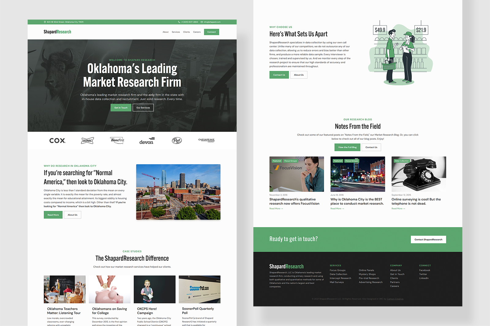 Shapard Research New Website Designed by Carbon Creative, an OKC web design agency
