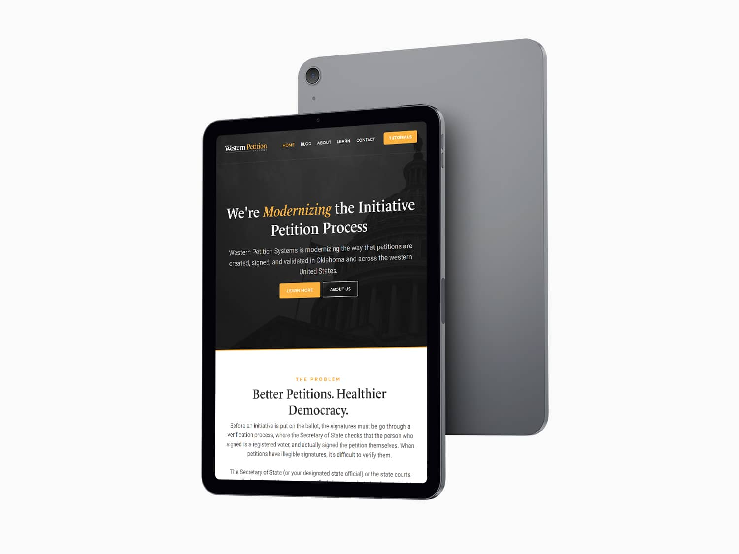 Western Petition Systems Website on iPad