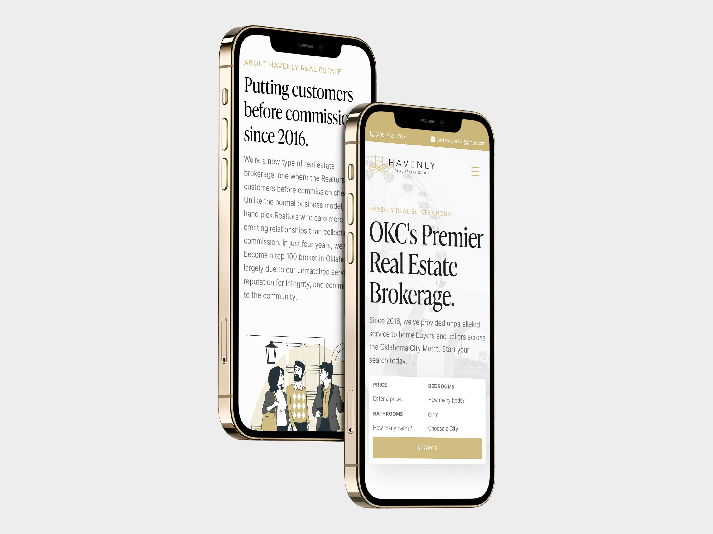 Havenly Real Estate's New Website Shown on iPhones, Designed by Carbon Creative, an OKC Website Design Agency