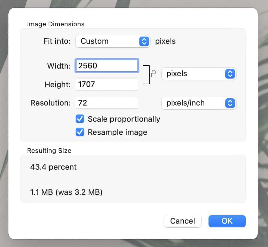 adjust dimensions on mac