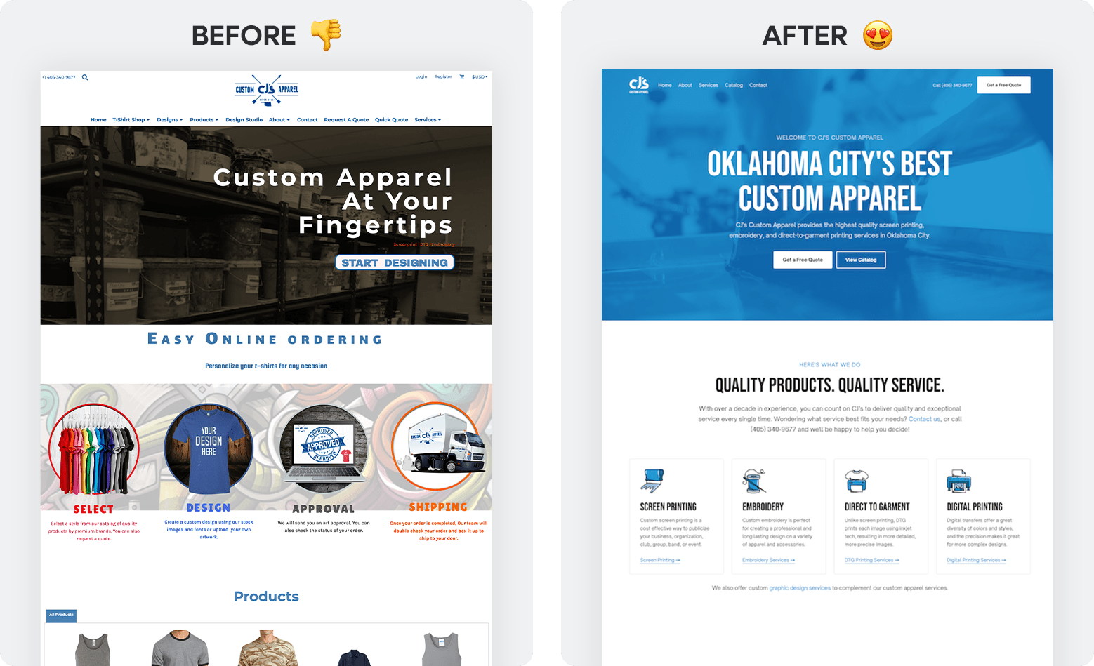 CJ's Custom Apparel Website Before and After a Carbon Creative Website Redesign with Astonishing Results