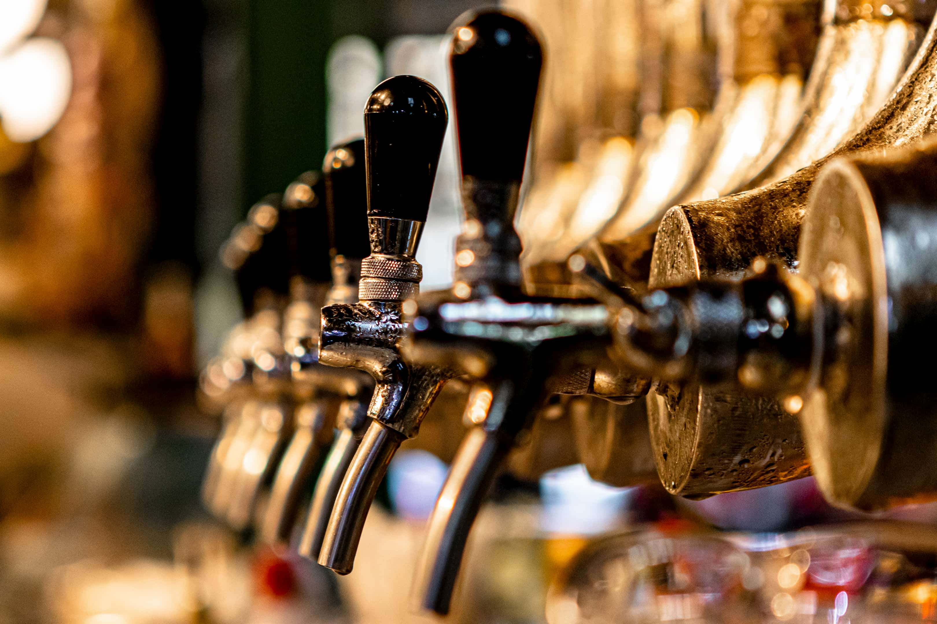 Glistening beer taps