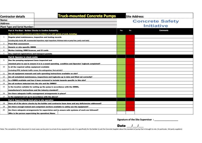 CSI checklist as published