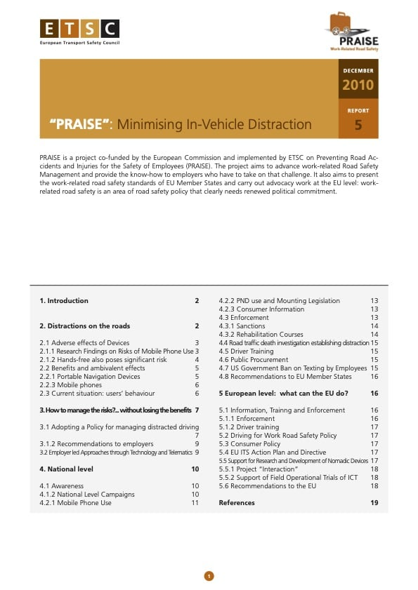 PRAISE Thematic Report Moving In Vehicle Distraction