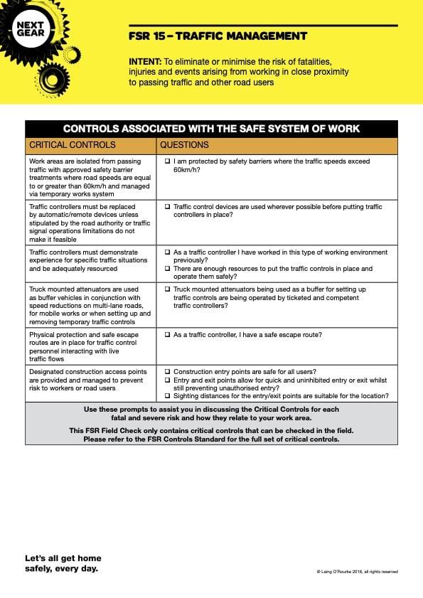 FSR 15 Traffic Management Field Checklist