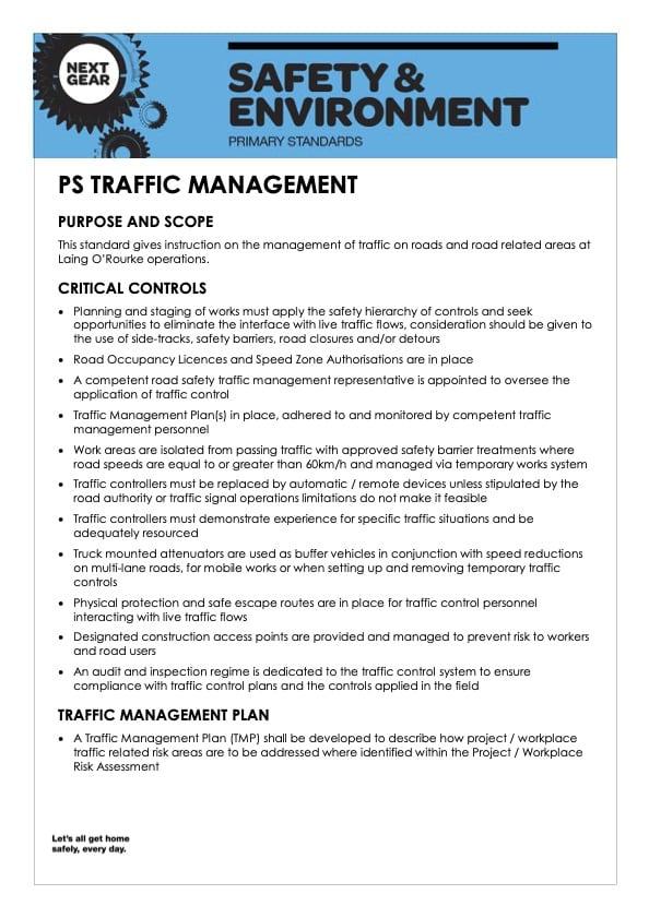 Primary Standard Traffic Management