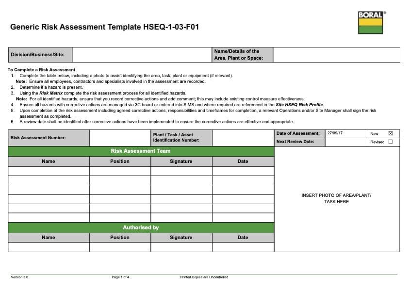Traffic and Pedestrian Risk Assessment Template