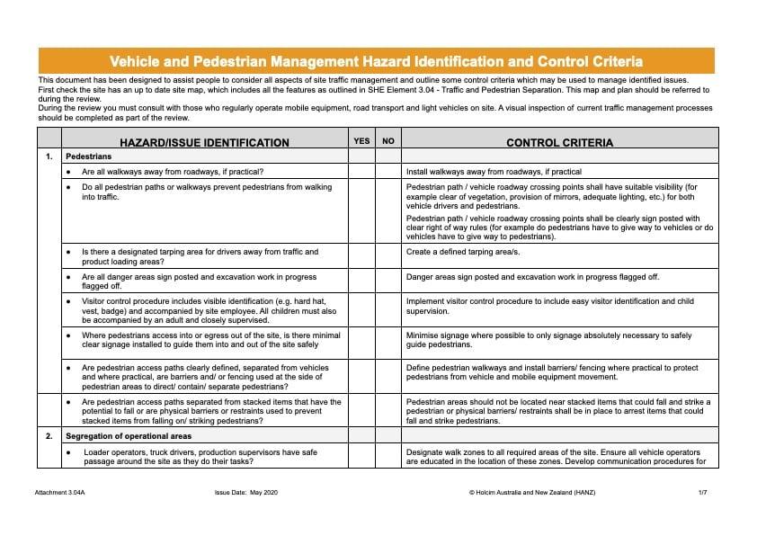Holcim Vehicle and Pedestrian Management Hazard Identification and Control Criteria