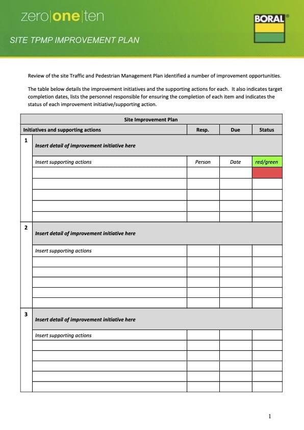 Site TPMP Improvement Plan Template