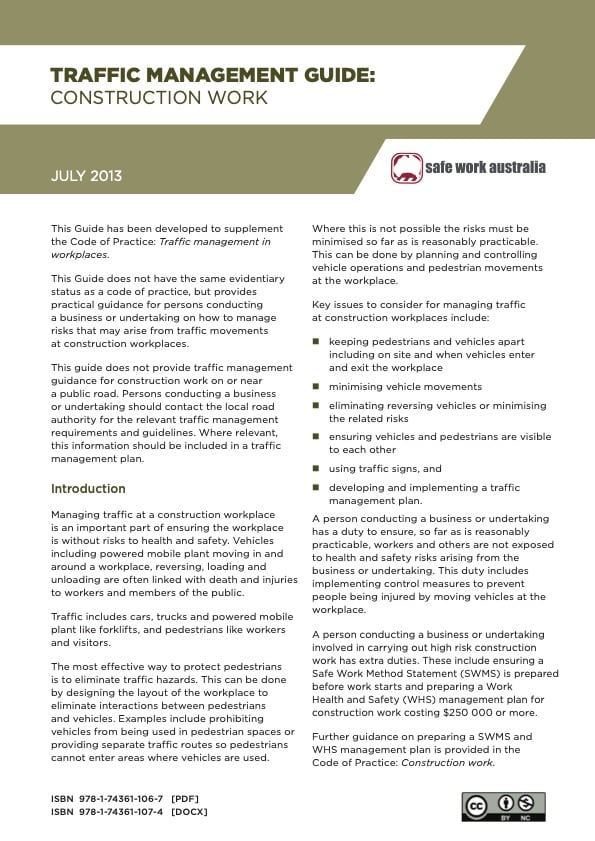 Traffic Management Guide Construction Work July 2013
