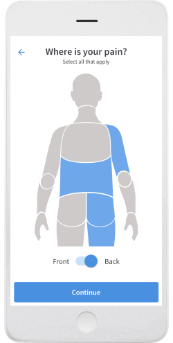 Screenshot of body pain identification in PainScale app
