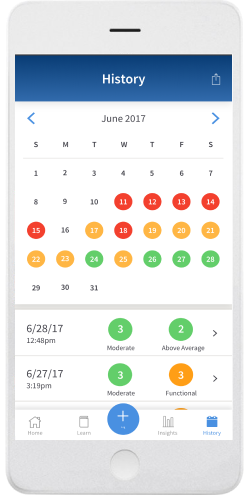Screenshot of content calendar in PainScale app