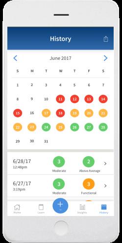 Screenshot of content calendar in PainScale app