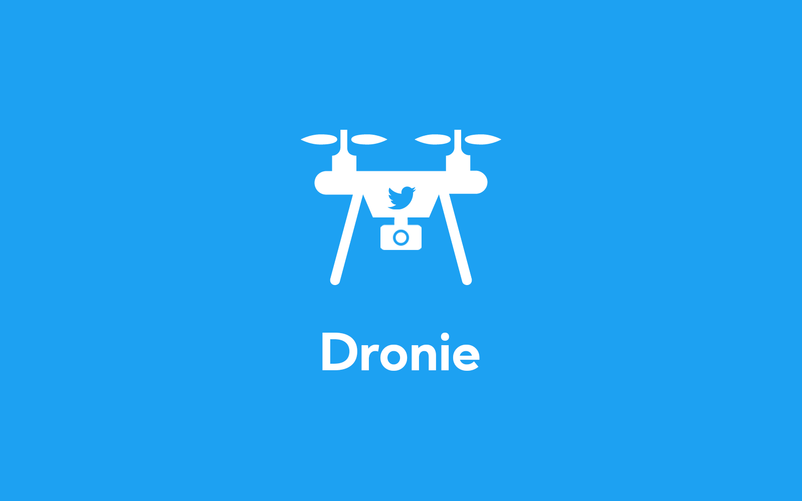 Dronie icon on Twitter blue background