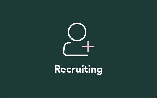Recruiting icon on green background with 'Recruiting' text