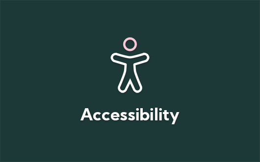 Accessibility icon on green background with 'Accessibility' text