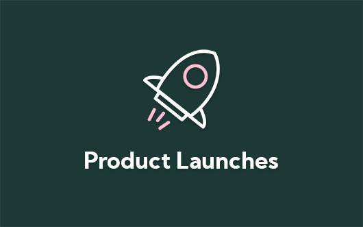 Rocket  launch icon on green background with 'Product Launches' text