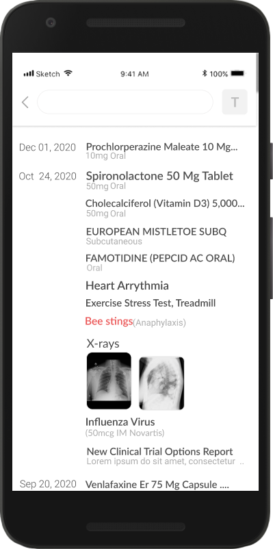 Mobile screen of timeline (before)