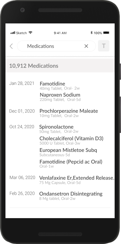 Mobile screen of search detail - medications (before)