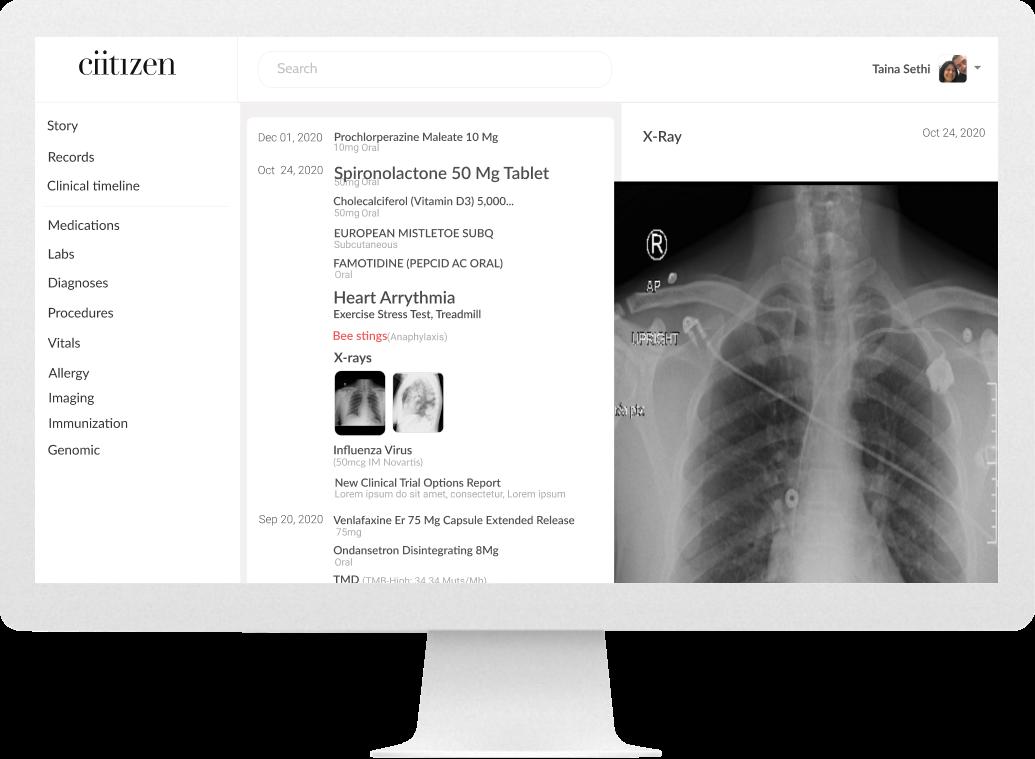 Desktop screen of search detail - xrays (before)