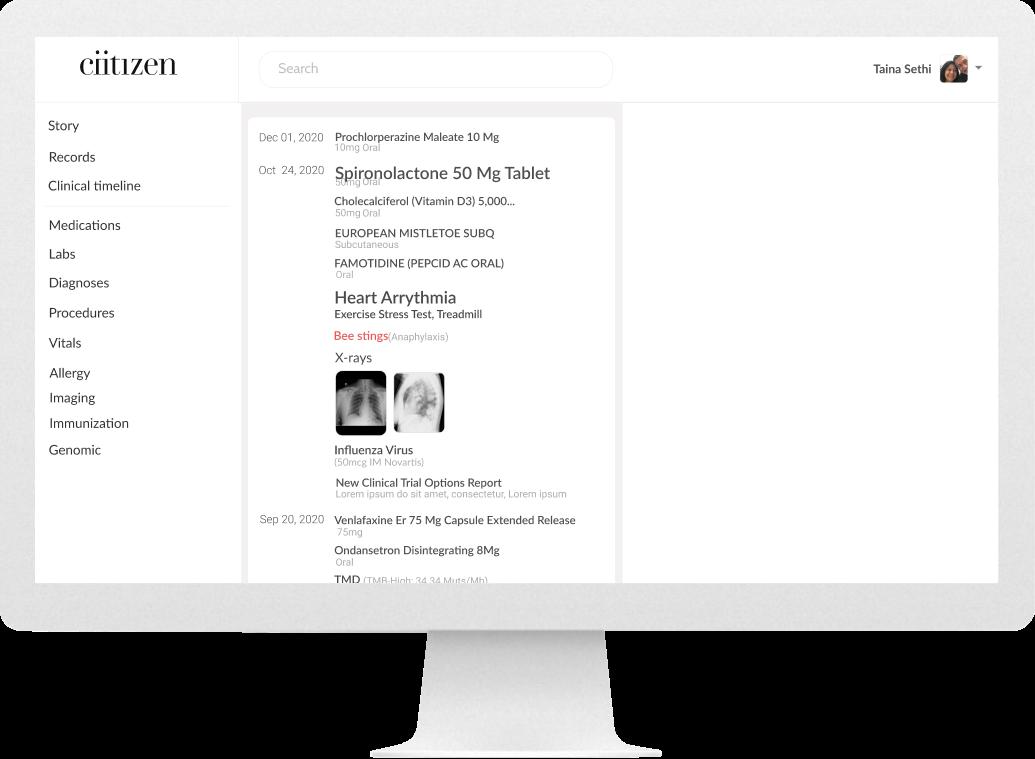 Desktop screen of timeline (before)