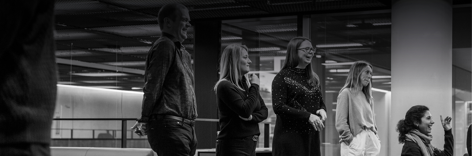 meet the team, company stand-up, Quant's product team and two of our female engineers