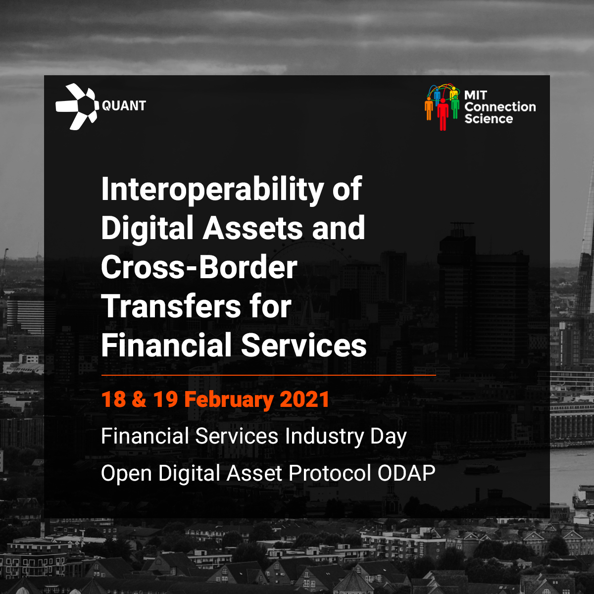 Webinar Quant and MIT Industry Day for Financial services on interoperability of digital assets and cross-border transfers