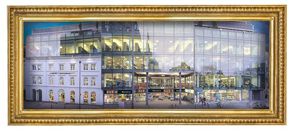 Fassade der 2002 komplett neu gebauten Mayerschen Buchhandlung