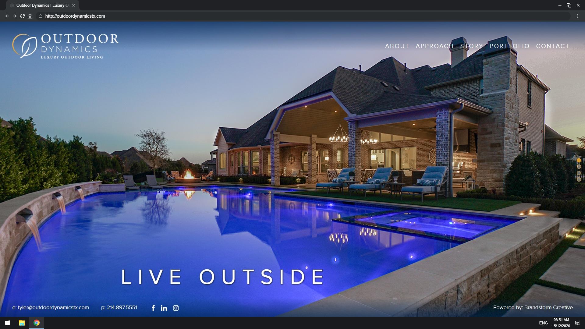 Mock up of Outdoor Dynamics website