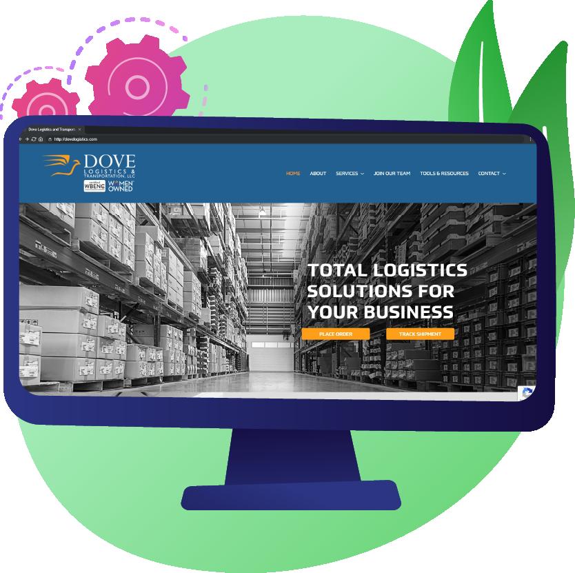 Mockup of Dove Logistics website