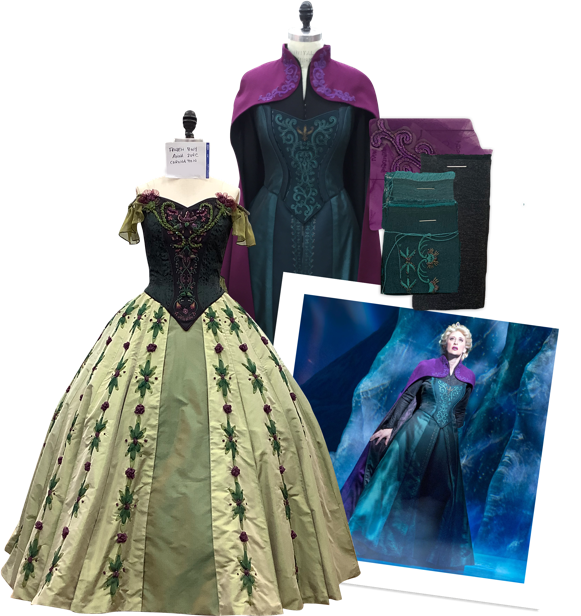 We helped the magic of Disney come alive on Broadway through period dresses, beading, embroidery, breakaway costumes and yards of petticoats.