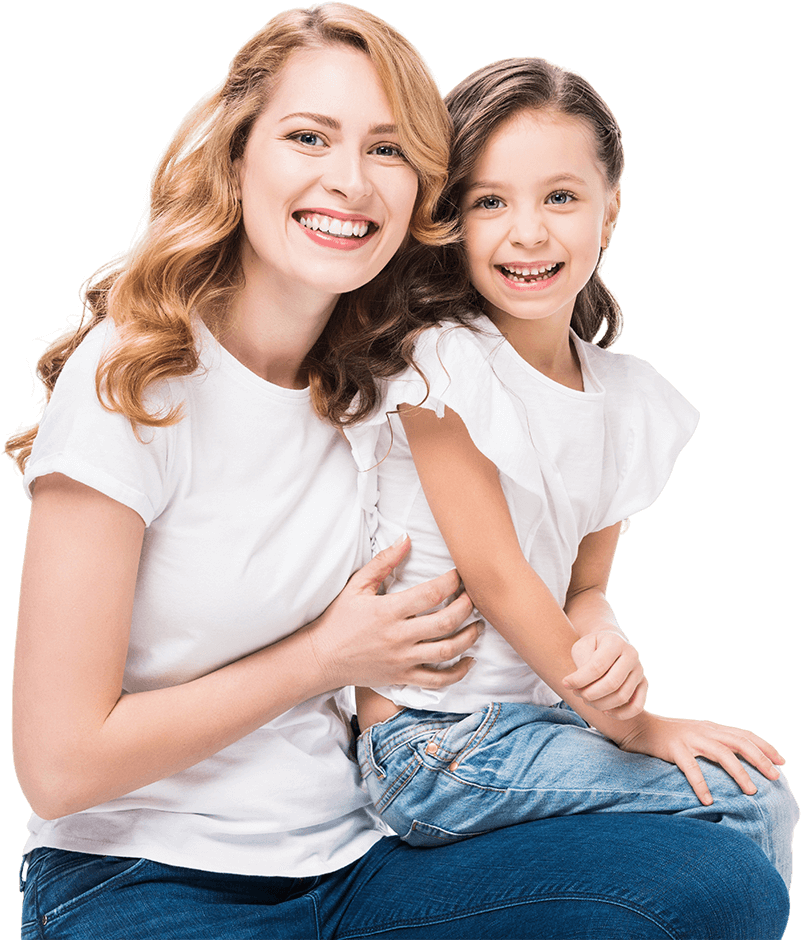 Smiling Mom and Daughter