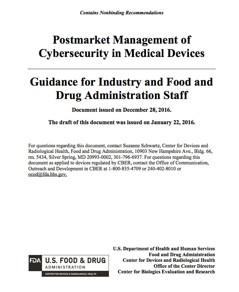 Post market management of cybersecurity in medical devices
