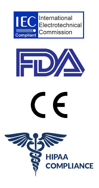 IEC FDA CE HIPPA Compliance logos