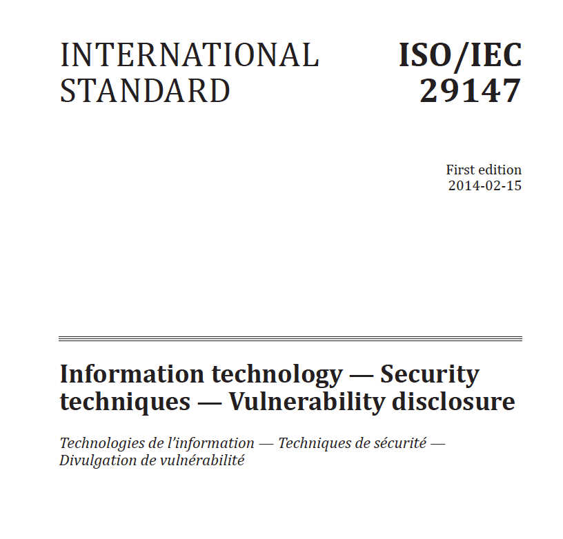 IEC 29147 compliance Security Techniques