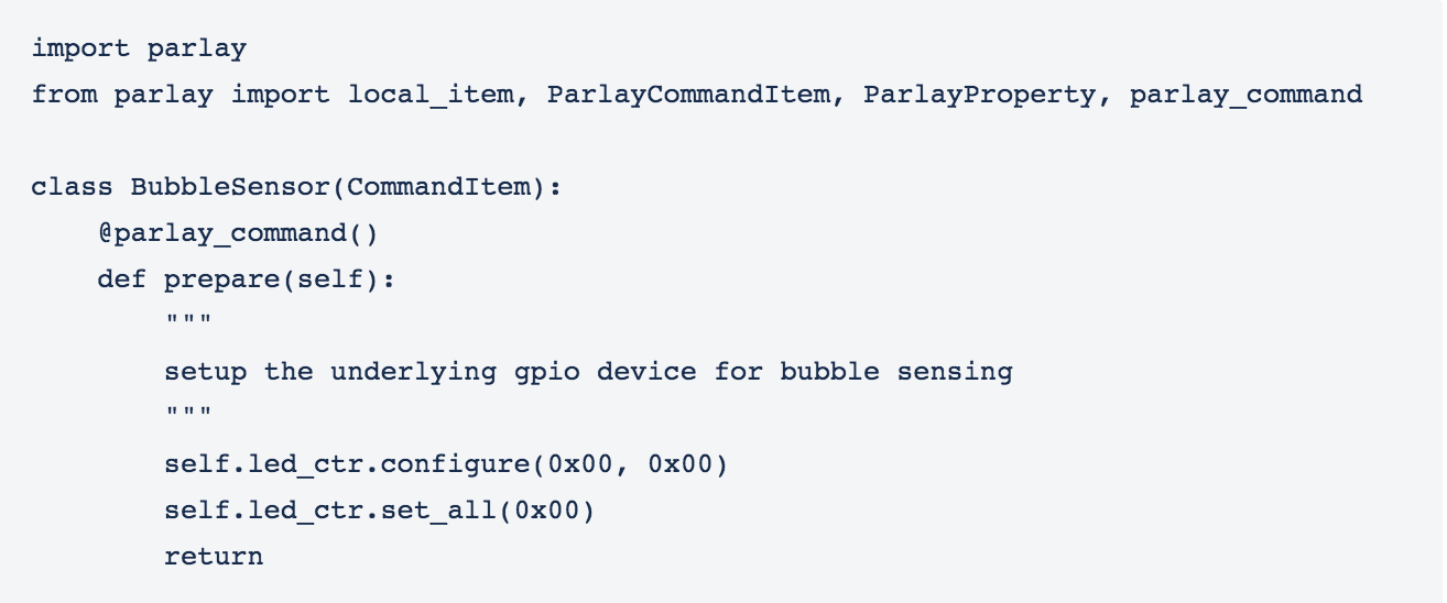 snippet of code from a Python item and C++ that is accessible via a Parlay Item