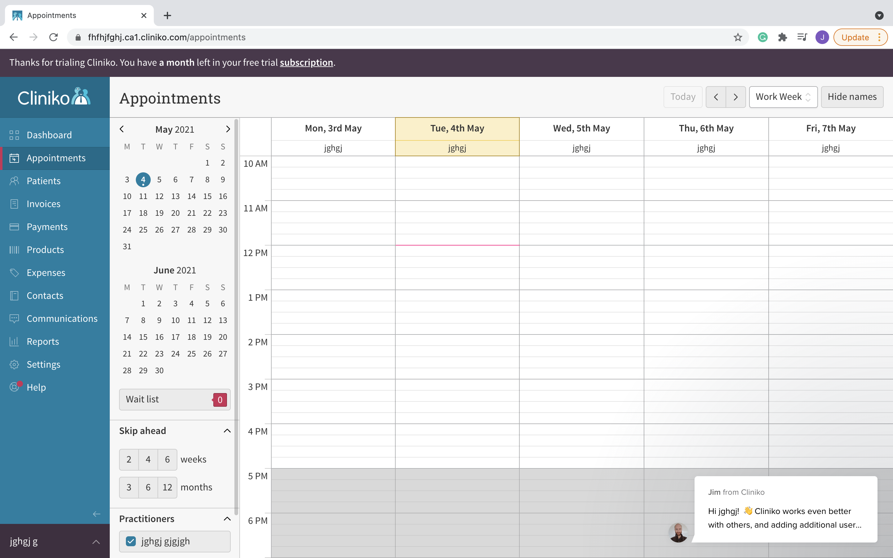 Cliniko client appointment scheduling