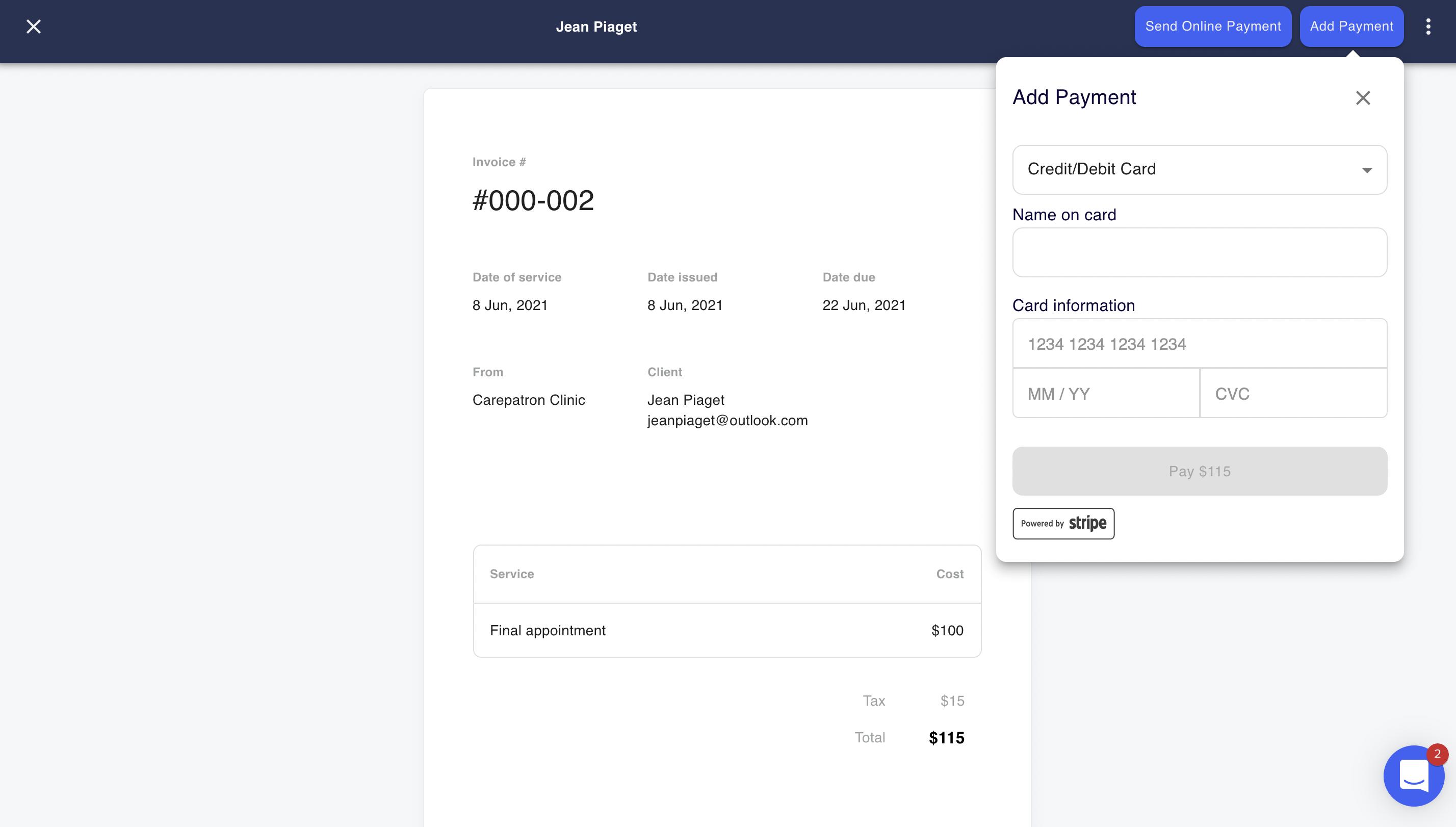 Practice management online payments