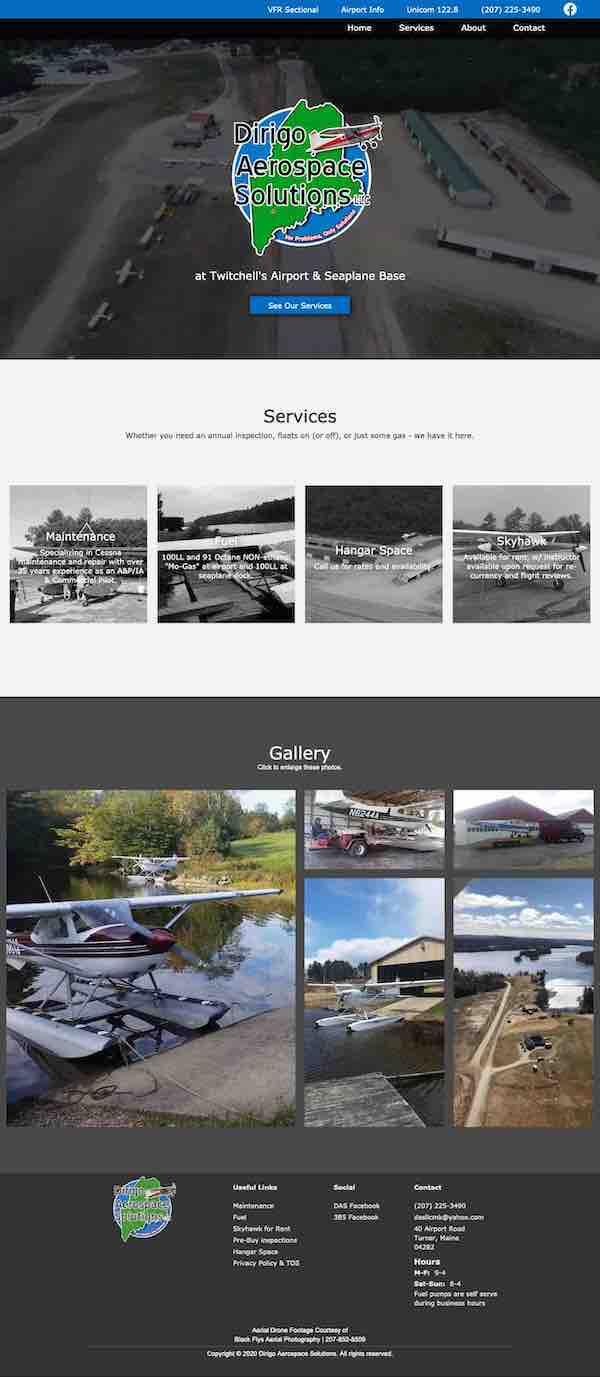 A full page screen shot of the Dirigo Aerospace Solutions website.