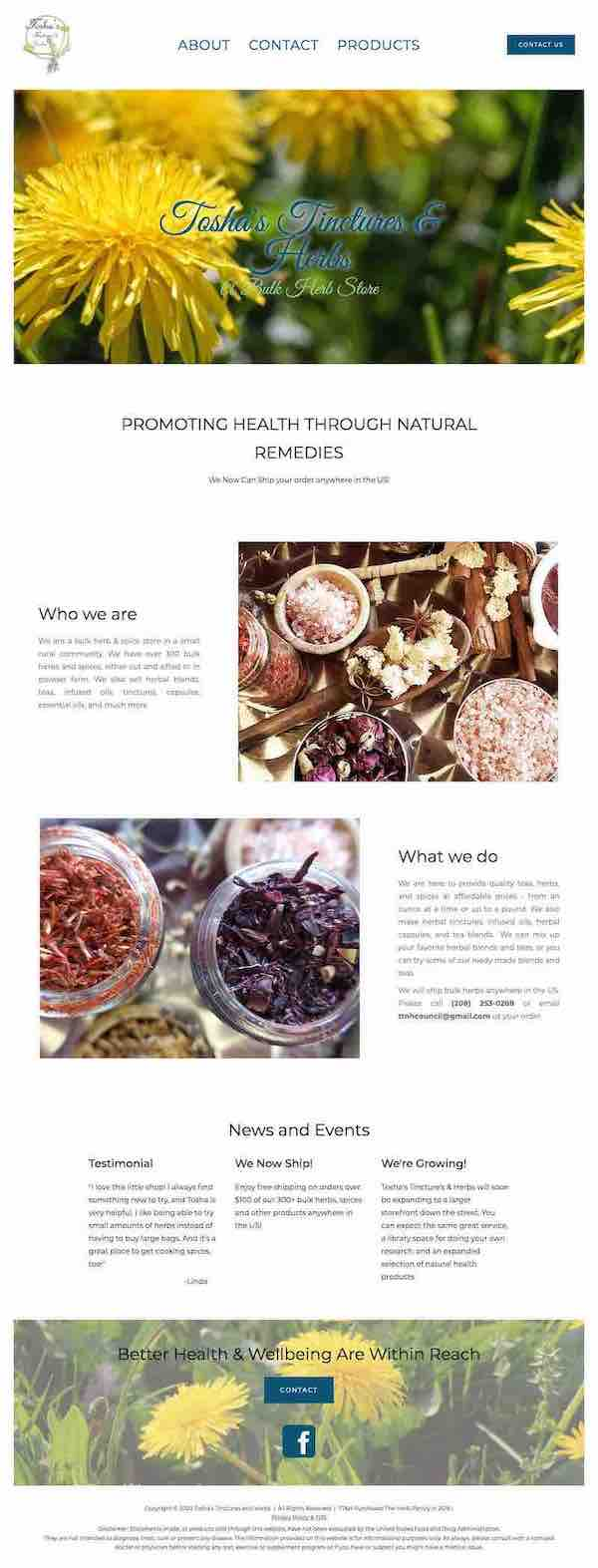 Full page screenshot of Tosha's Tinctures & Herbs website.