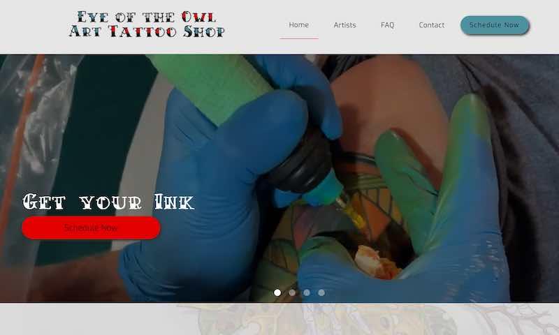 Screen shot of the eyeoftheowl.art website.