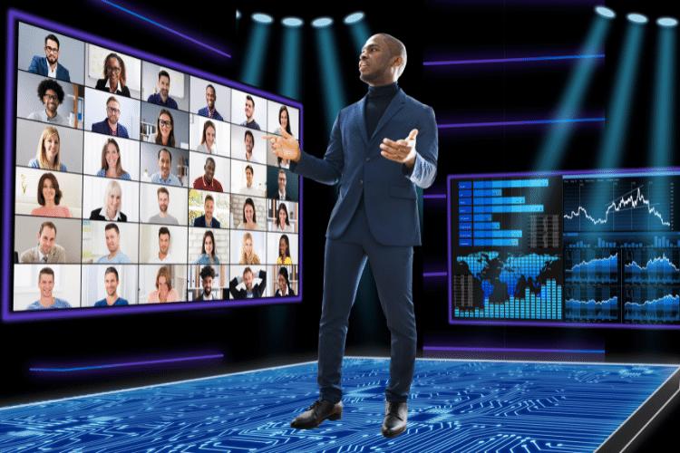 man hosting virtual event