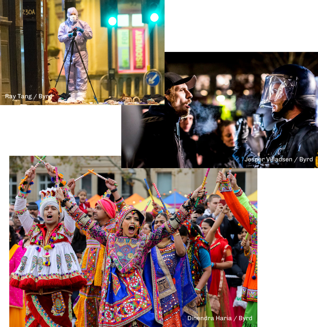 Three photos, one of a man in a hazmat suit at what could be crime scene, second of a man yelling at a police man, and the last of a celebrating crowd in colorful outfits