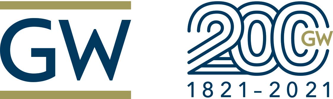 The George Washington University logo and The George Washington University bicentennial logo