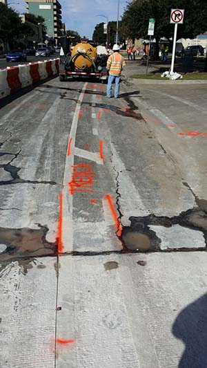 Identifying Trench Lines For Deep Utilities In Road Texas