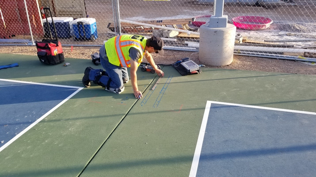 GPR Used to Locate PT Cables on an Outdoor Basketball Court - Tucson AZ