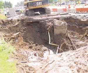 big hole with damage