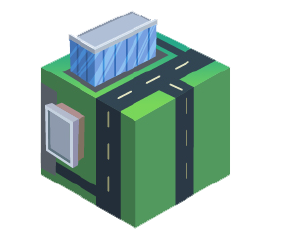 green cube with roads