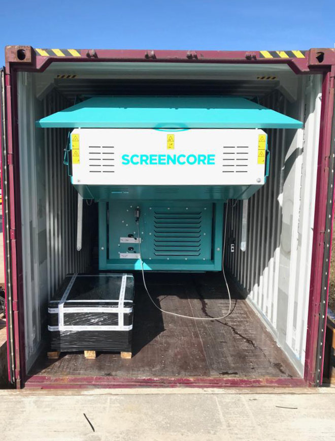 Screener Trident 124 inside a 40 foot shipping container