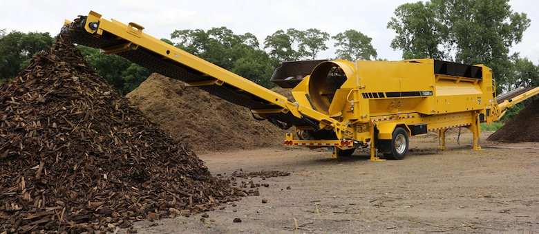 yellow trommel screening processing mulch